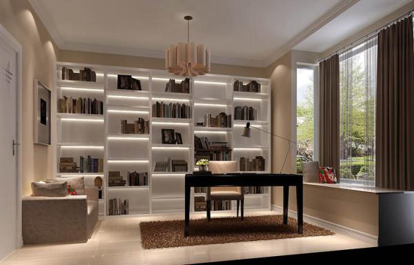 书房顶面用石膏线装饰,有令人眼前一亮的感觉