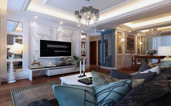 简欧风格客厅,石材电视背景墙,简单利落,搭配深家具,美观时尚。木制隔断,即起到阻挡视线又起到美观的作用。