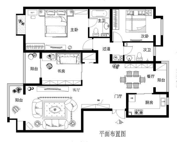 果岭小镇128平简欧风格案例赏析户型图