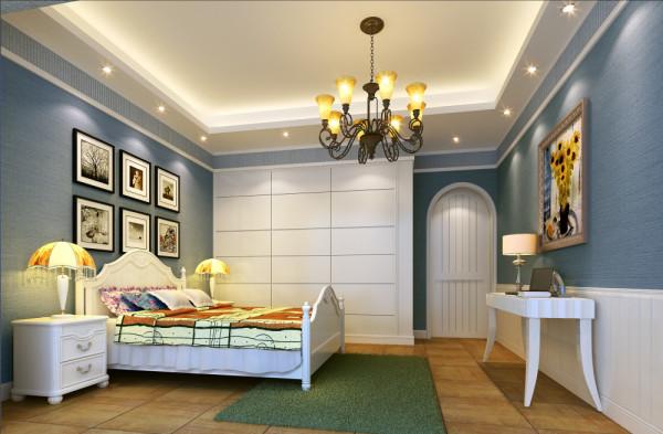 设计理念:绿色格调带给小孩朝气与活力,窗帘、地毯以及房间的床上用品都采用了深浅不一的绿色,并且有可爱的卡通图案,促使小孩有丰富的想象力。