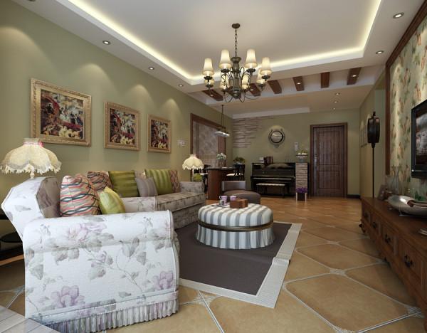 客厅的沙发采用乡村气息的家具,印花、麻料、编制类等,在入户的位置吊顶上做了功能的区域划分,上面做假梁造型。
