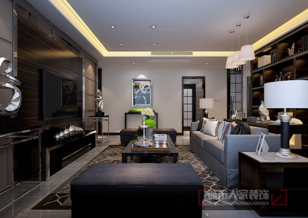 门厅及沙发背景墙考虑订做成品家具满足正常的收纳陈列功能,整体家具的统一性给人更是一种大方舒适的感觉。