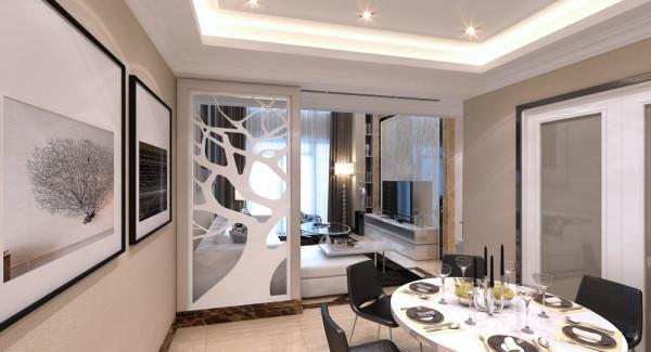 设计理念:一般家庭的餐厅空间并不大,通常采用开放式的格局,不但可使用餐区看起来更宽敞,还可以丰富室内的景观。本案中的餐厅去繁就简,用墙上的壁画与地板的变化的方法加以界定,再配合暖黄色的灯光,