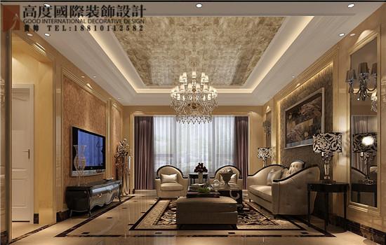 简约 欧式 三居 白领 客厅图片来自高度国际装饰黄帅在K2百合湾190平简欧设计效果展示的分享