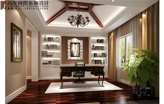 混搭 书房图片来自高度国际装饰黄帅在潮白河孔雀城380平米混搭展示的分享