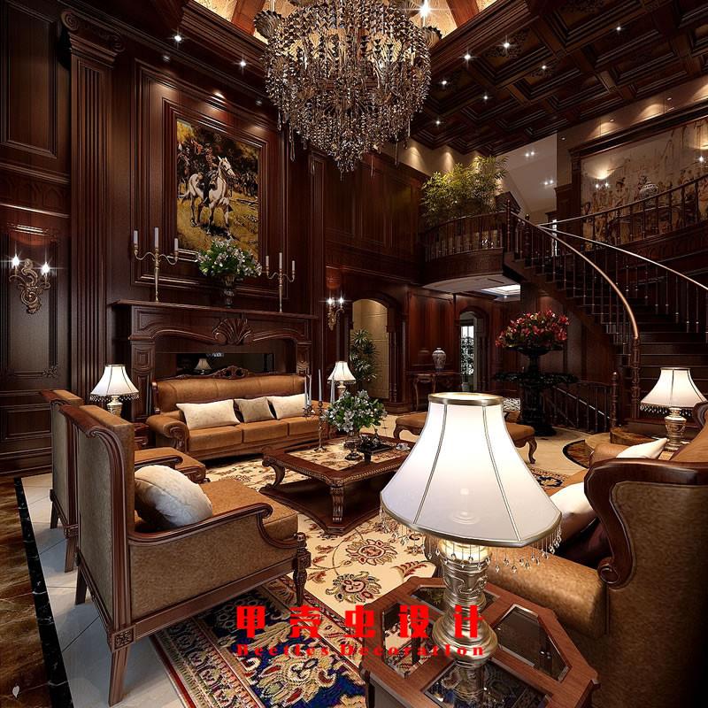 合肥碧湖云溪别墅新古典风格装修设计效果图--客厅2