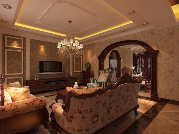 欧式风格强调以华丽的装饰、浓烈的色彩、精美的造型达到雍容华贵的装饰效果。欧式客厅顶部喜用大型灯池,并用华丽的枝形吊灯营造气氛。门窗上半部多做成圆弧形,并用带有花纹的石膏线勾边。