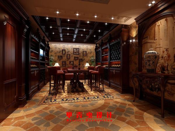 合肥碧湖云溪别墅新古典风格装修设计效果图--酒窖