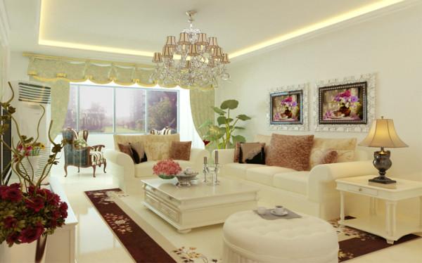 浅米色的布艺沙发墙面地面呼应,色调的和谐,并点缀花朵绿植复古台灯色彩绚丽的油画凸显美式气息。