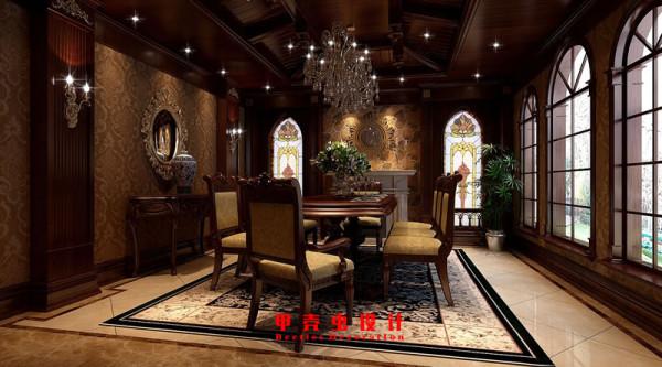 合肥碧湖云溪别墅新古典风格装修设计效果图--餐厅