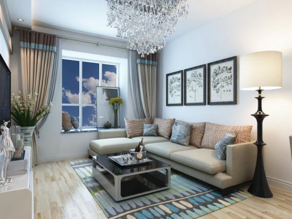 沙发选用了极具现代气息的亚麻色的布纹,提升空间自然色彩,客厅电视背景墙采用长短不一的石膏板做的整体造型板做的造型,配上具有空间拉伸干感的竖条纹壁纸,美观大方。
