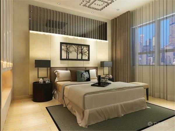 卧室是不仅是睡眠休息的地方,而且是最具隐私性的空间。本案卧室的设计,将其与客厅、餐厅协调统一起来,卧室采用米色系地板,灰色系壁纸,床头背景采用了米色系软包,还有黑色玻璃,金属饰品等材料。