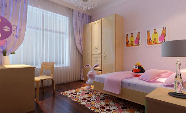 儿童房在设计上用淡粉色的壁纸,暖色调的空间让孩子感觉自在、温馨与舒适的生活空间。在安逸,舒适的生活中,体现出孩子的天真、活泼与可爱。简单的家具让孩子不会感觉的有束缚感。