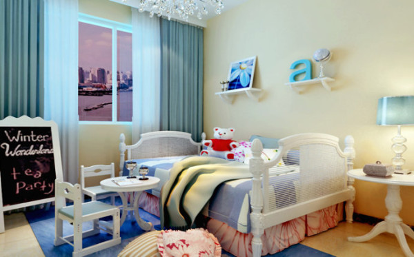 将此儿童房打造为一个娱乐空间,清新亮丽的颜色营造了儿童天真活泼的氛围。简洁干净,利落。