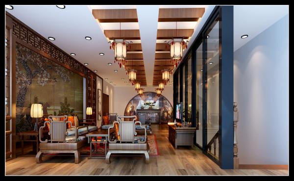 在本案中每一层都会设置中式的屏风或窗棂、中式博古架等。通过这种空间隔断的方式,就能充分展现出中式家居的层次之美。