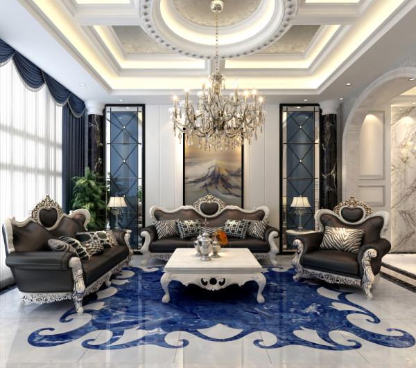 本案为别墅设计,使用面积大约380平米。欧式新古典风格高雅而和谐,白色和蓝色的色调搭配,家具和配饰的点缀装饰赋予着优雅、唯美的姿态,平和而富有内涵的气韵,描绘出居室主人高雅、贵族之身份