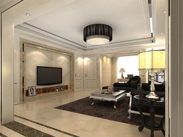 该户型畅水园三室两厅两卫一厨,设计风格是简欧风格,整体以暖色调为主。
