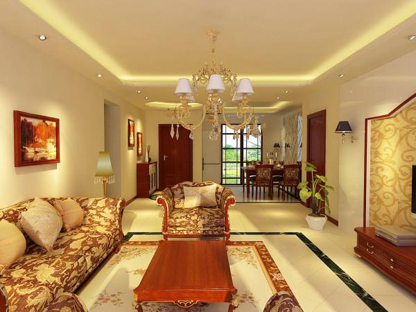 此案例为宏城御溪园两室两厅户型,此房型的装修采用了简欧的装修风格。