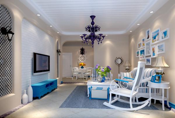 客厅以地中海风格为主,以浅咖色为主色调,以白色为主深色为辅。相对比拥有浓厚地中海的装修风格,使蓝色更为清新、也更符合中国人内敛的审美观念。
