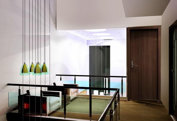 二层休闲区和沙发挑空的地方遵循了简洁实用的原则,充分显示了生活的舒适性和别墅大空间的独特性。
