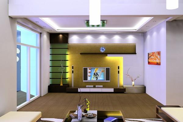 宽敞明亮的客厅大气而又高贵,具有几何图案的电视背景墙,背面采用了金箔壁纸。