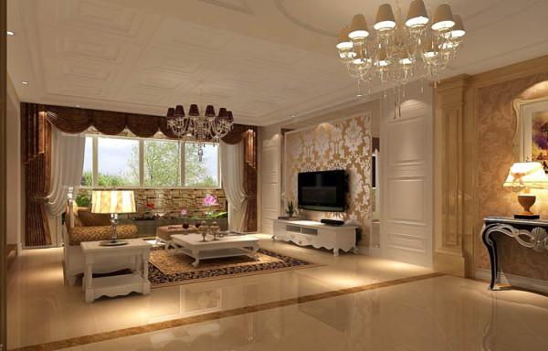 整个电视背景墙把客厅提升起来。沙发后放置一欧式靠几,用简单的装饰品来点缀,使整个空间更富有欧式气息。