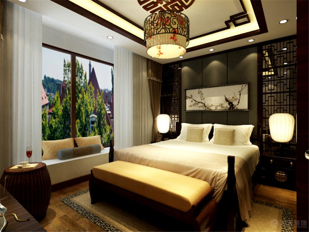 中式 二居 白领 收纳 80后 小资 卧室图片来自阳光力天装饰在奥莱城-102.00㎡-中式风格的分享