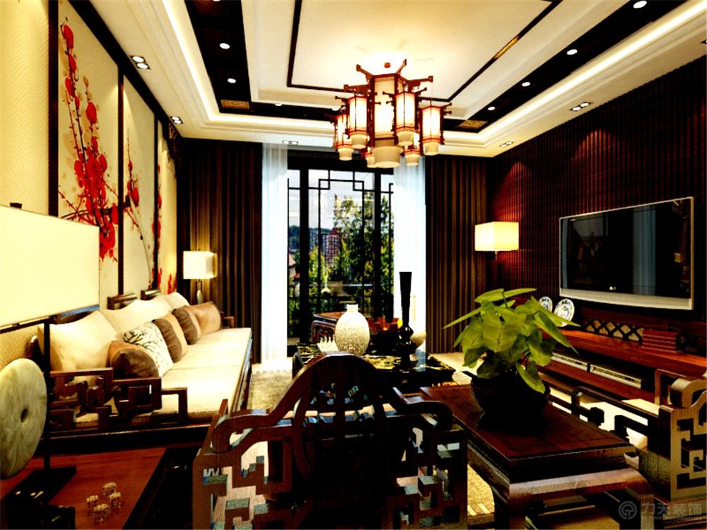 中式 二居 白领 收纳 80后 小资 客厅图片来自阳光力天装饰在奥莱城-102.00㎡-中式风格的分享