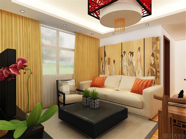 该户型的设计风格为中式风格。整个空间以暖色调为主,暖色的光源给空间营造了温馨舒适的感觉。