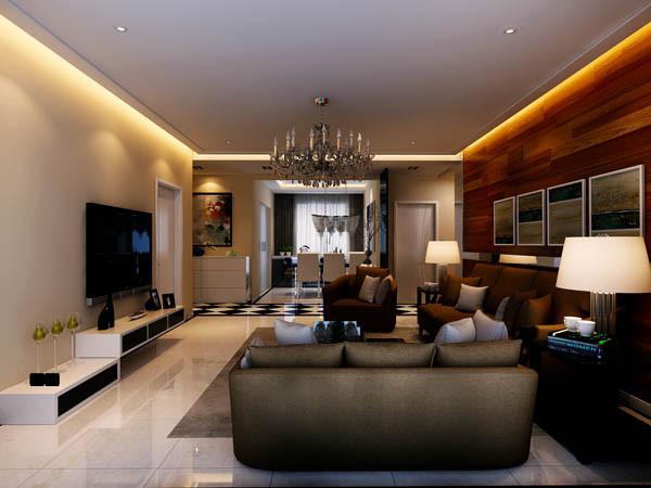 客厅是主任品味的象征,体现了主人品格,地位,也是交友娱乐的场合,电视背景墙采用石膏板做型,既简单又大方,再加上色彩为浅灰色色的壁纸,配上顶部照下来的灯光,整个电视背景墙把客厅提升起来。