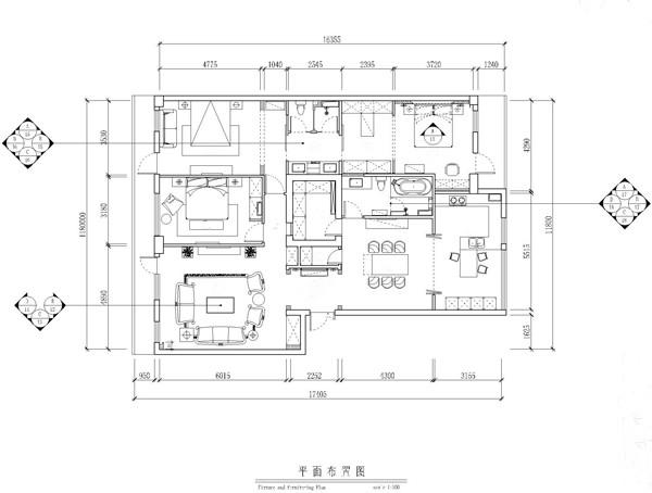 专家国际花园三居室户型平面布置图