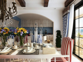 混搭 二居 简欧 地中海 小清新 餐厅 餐厅图片来自成都幸福魔方装饰工程有限公司在清新靓丽地中海混搭的分享