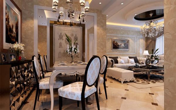 餐厅处的顶面和地面的装饰凸显出主人的生活品味时尚大气感。