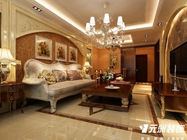 奥北公元装修-G户型114平米三居室欧式风格装修设计效果图