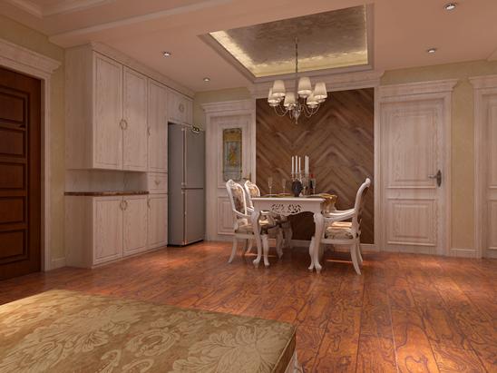 餐厅门与餐厅卫生间门做成一个整体,加上餐厅花纹别致的背景墙,让整个餐厅的空间感更加鲜明。