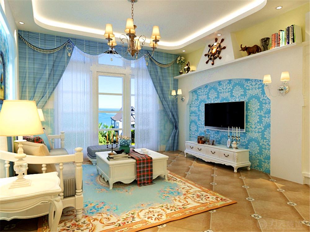 地中海 二居 收纳 白领 80后 小资 客厅图片来自阳光力天装饰在奥莱城-94.00㎡-地中海的分享