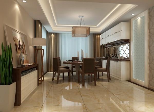 餐厅与客厅区域划分明显。做了独立的区域设计