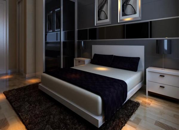 次卧强调功能性设计,线条简约流畅,色彩对比强烈,这是现代风格家具的特点。此外, 大量使用钢化玻璃、不锈钢等新型材料作为辅材,也是现代风格家具的常见装饰手法,能给 人带来前卫、不受拘束的感觉。