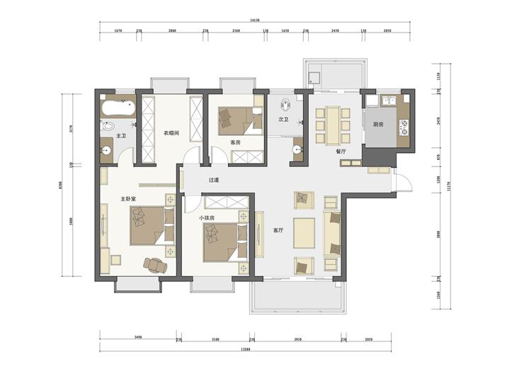 简约 三居 家居装饰 新房装修 天津实创装 户型图图片来自天津实创装饰集团l在奥莱城120平新中式混搭三居室的分享