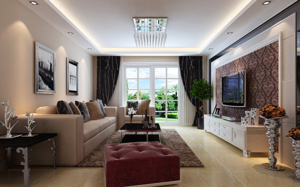 客厅采用浅咖色沙发搭配深色风格地毯,再加上黑色风格窗帘,使得会客空间充满了现代气息。