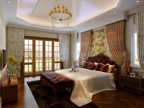 卧室是休息的区域,温馨而又浪漫的卧室是主人最喜欢待的地方,在此可以放松身心,毫无保留的放空自己。吊顶浪漫典雅,配饰温馨独特,可以说卧室是业主最喜欢的地方,也是设计师最骄傲的区域之一。