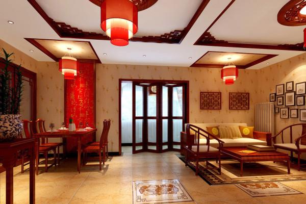 电视墙和餐厅背景墙红色的壁纸,让整个屋子豁然开朗起来,也成了整体客厅的亮点,中式折叠屏风门使得书房和餐厅隐约可见,也使两个不同的空间合为一体。