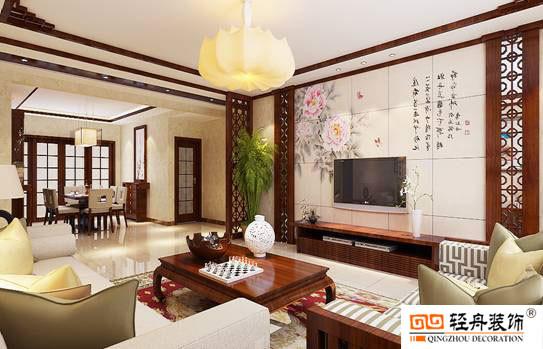 房子的设计风格选用了经久不衰的古典中式风格,在古典元素中加入了现代元素形成新中式风格。客厅电视墙采用定制而成的牡丹花砖拼贴而成,栩栩如生的牡丹花加上古典诗词,整个客厅带着古典的诗意美。