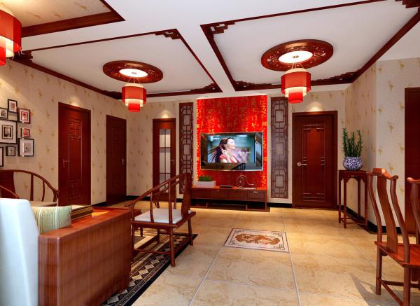 本案例根据客户的年龄及爱好,选择了现代中式风格,由于客厅中间有一道横梁,从入户门开始,采用了天圆地方的设计,地面采用了仿古砖拼花与门厅、