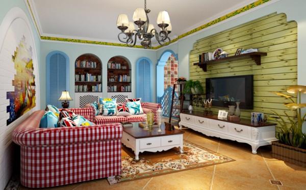 客厅的设计一般是整个设计当中的核心所在,该案整体以地中海风格为主调,但却与简约的主旨相结合,整个客厅局部以地中海元素来彰显,而整体却并不做夸张的装饰。