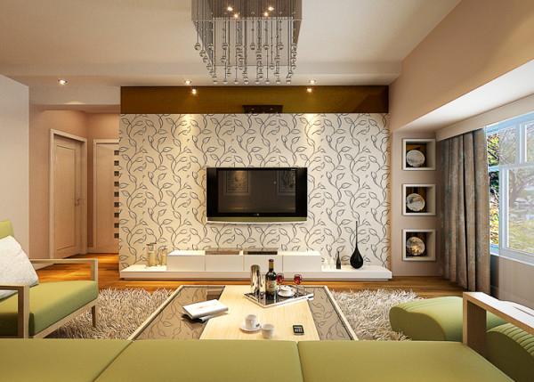 本案为现代简约风格。按照业主的需求,整体风格凸显了宽敞明亮、简洁欢快的特点。 客厅较为宽敞,采光良好,在装饰方面采用了浅色的地砖和带有古典江南色彩的壁纸