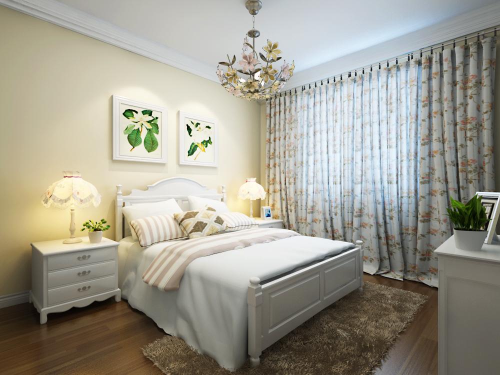 田园 简约 混搭 三居 80后 小资 卧室 床 卧室图片来自实创装饰范范在清新田园风的分享