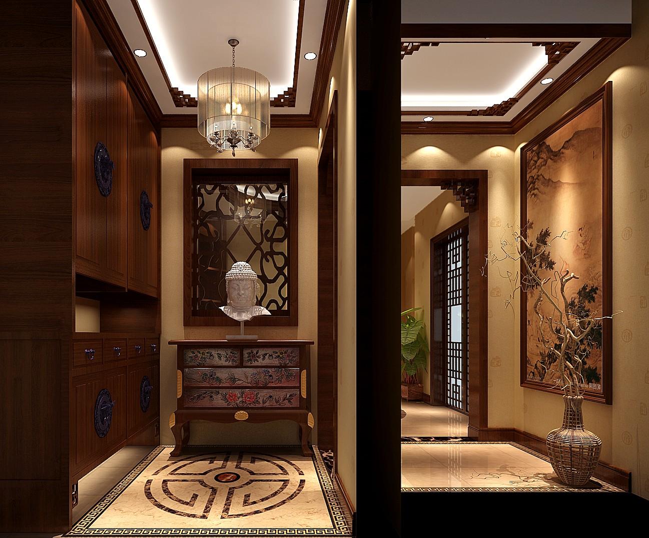 混搭 中式效果图 别墅 装潢 装修 收纳 80后 旧房改造 小资 玄关图片来自高度国际装饰王伟在鲁能7号院---中式风格效果图的分享