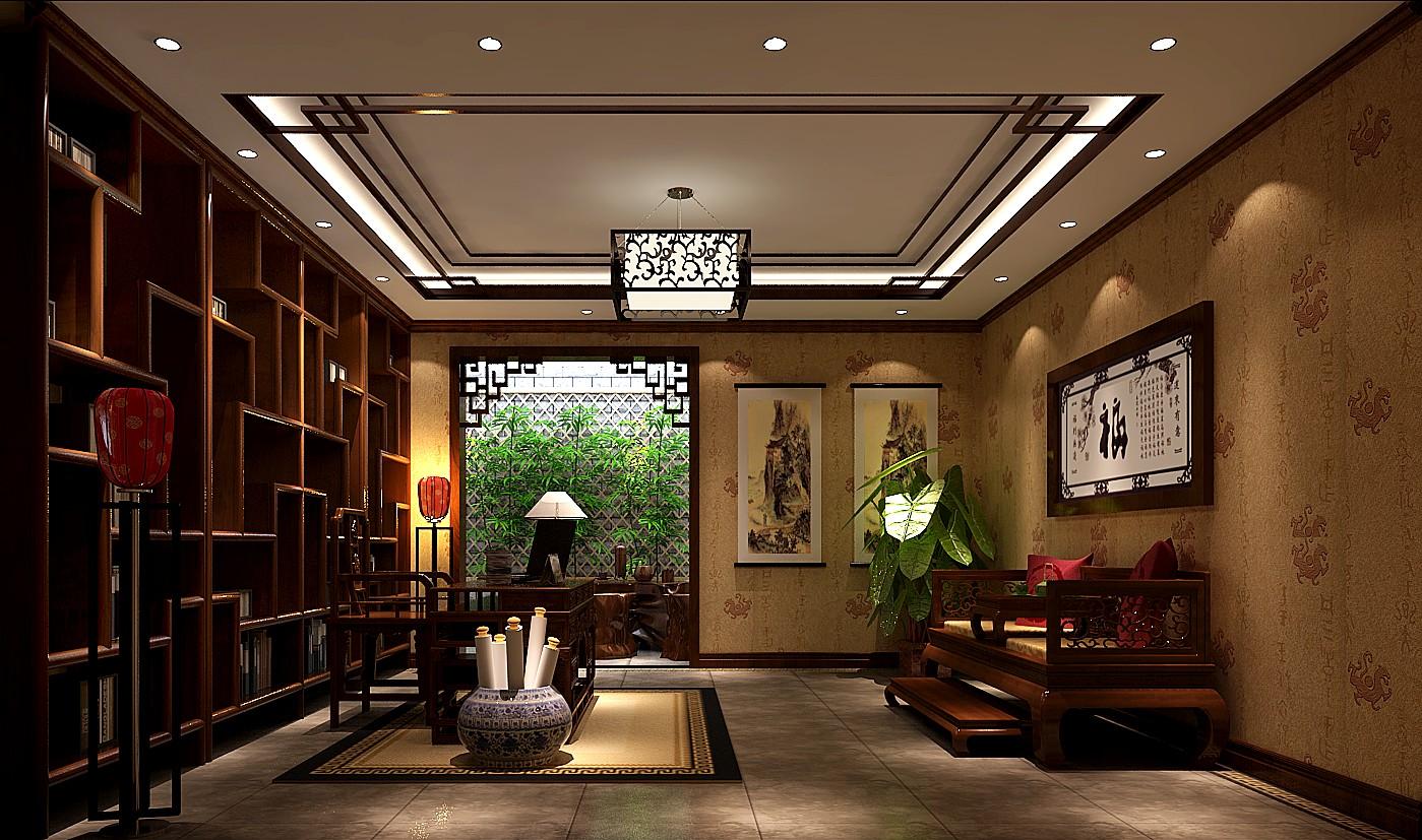 混搭 中式效果图 别墅 装潢 装修 收纳 80后 旧房改造 小资 书房图片来自高度国际装饰王伟在鲁能7号院---中式风格效果图的分享