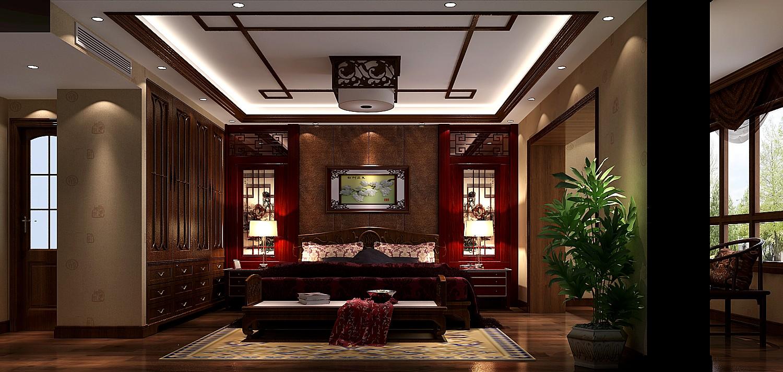 混搭 中式效果图 别墅 装潢 装修 收纳 80后 旧房改造 小资 卧室图片来自高度国际装饰王伟在鲁能7号院---中式风格效果图的分享